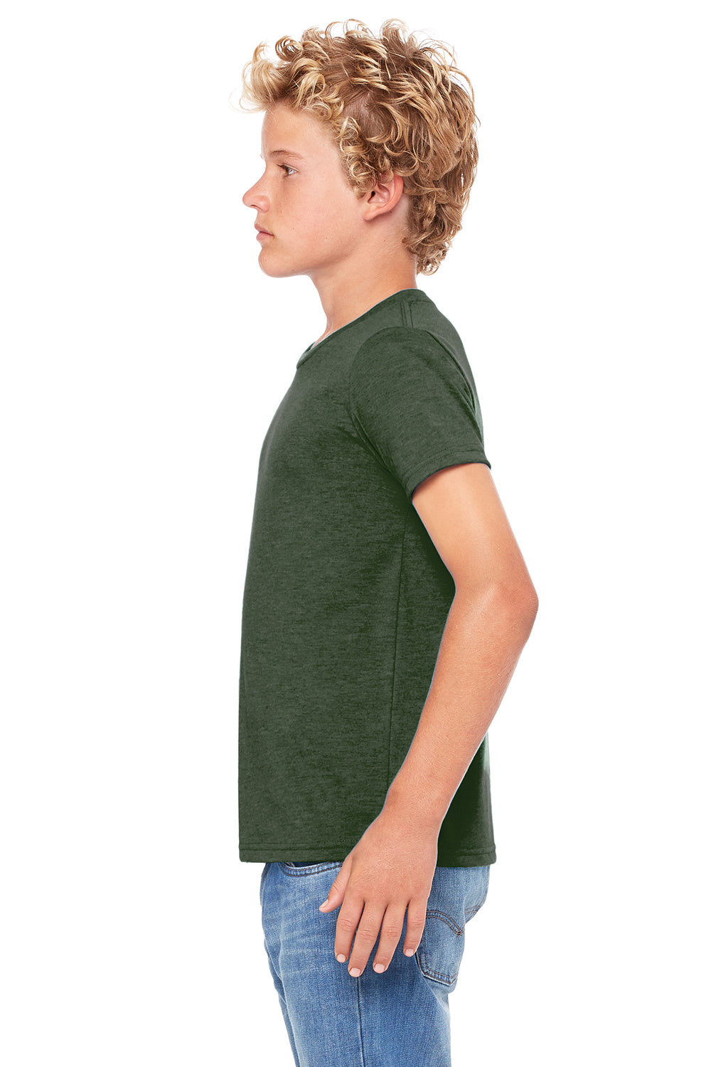 Bella + Canvas 3001Y Youth Jersey Short Sleeve Crewneck T-Shirt Heather Forest Green Side