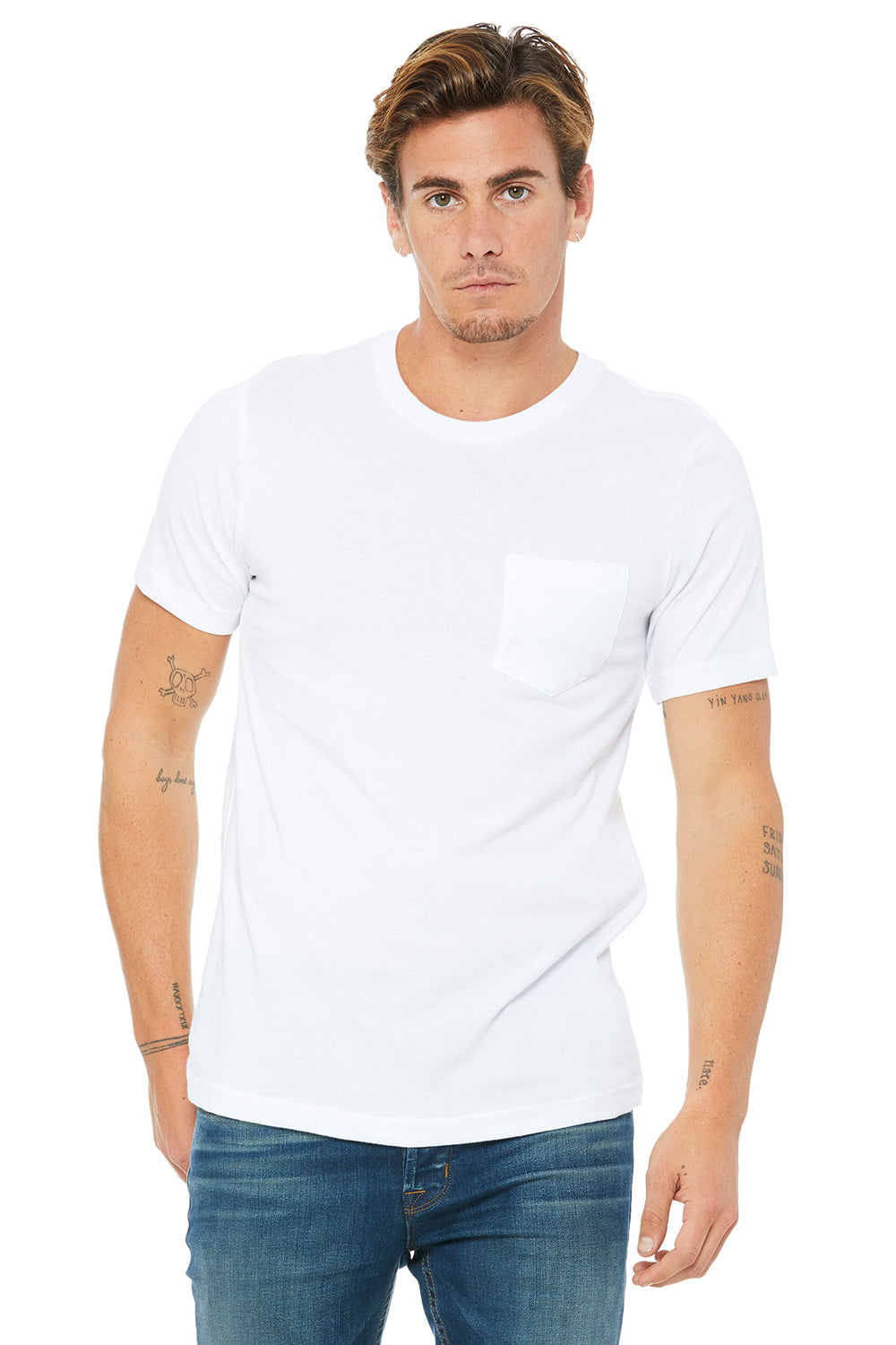 Bella + Canvas 3021 Mens Jersey Short Sleeve Crewneck T-Shirt w/ Pocket White Front