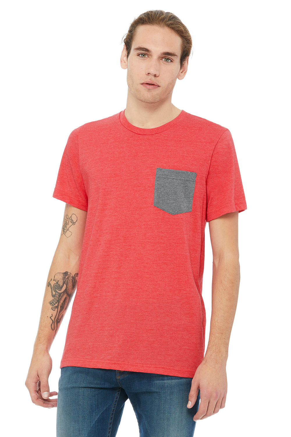 Bella + Canvas 3021 Mens Jersey Short Sleeve Crewneck T-Shirt w/ Pocket Heather Red/Heather Grey Front
