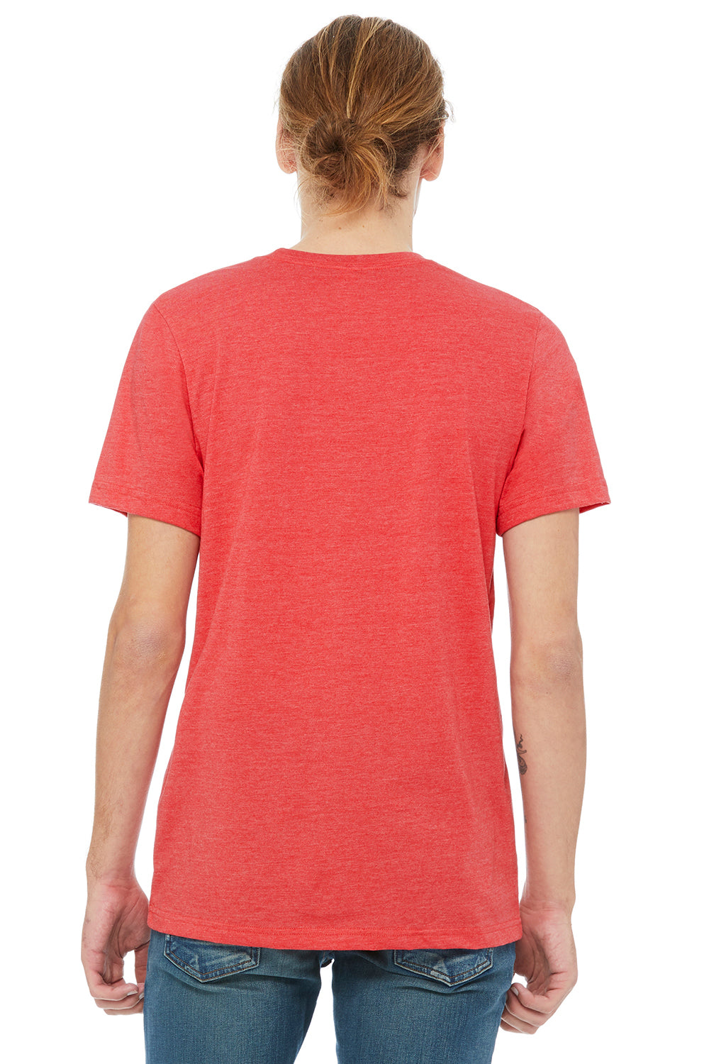 Bella + Canvas 3021 Mens Jersey Short Sleeve Crewneck T-Shirt w/ Pocket Heather Red/Heather Grey Back
