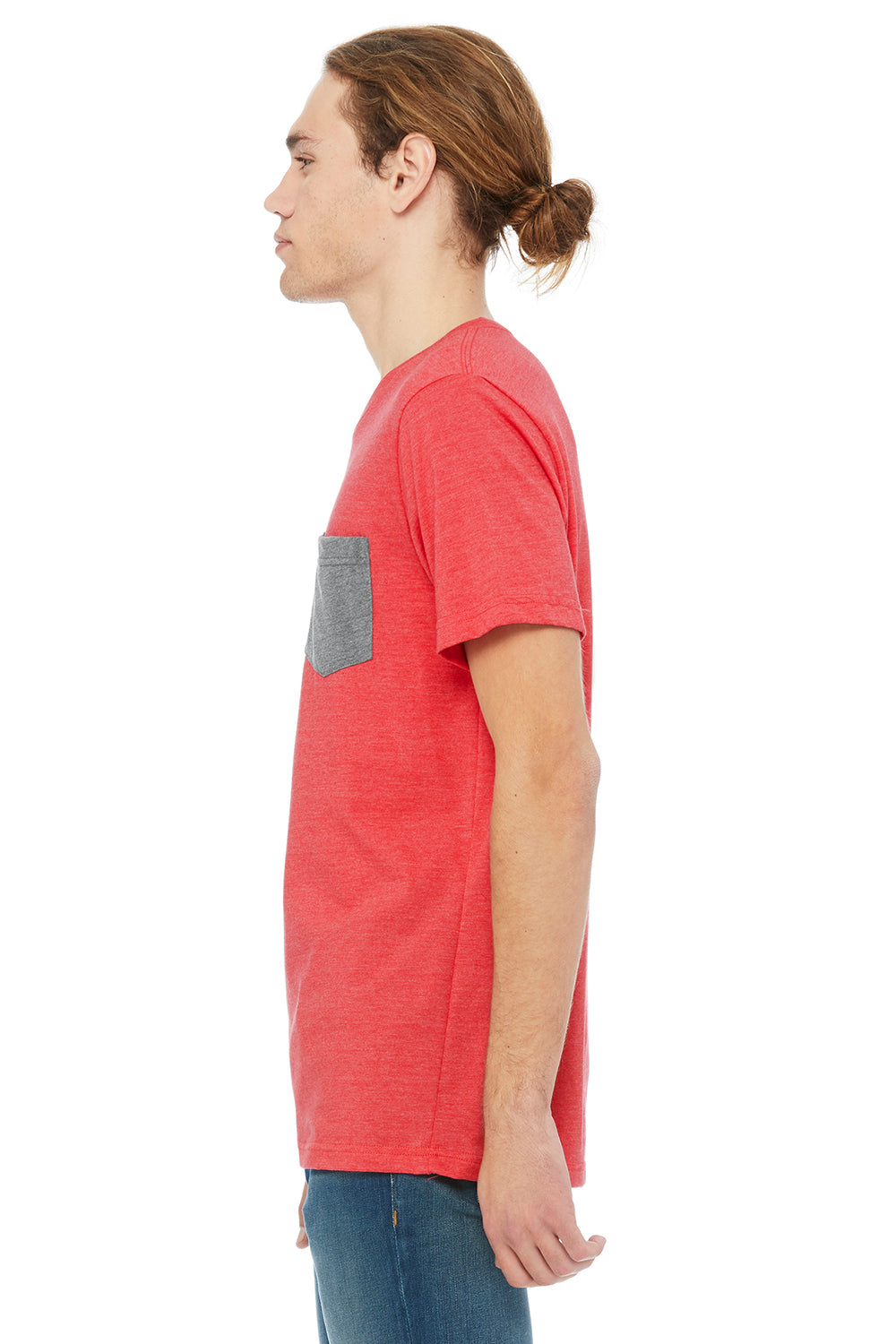 Bella + Canvas 3021 Mens Jersey Short Sleeve Crewneck T-Shirt w/ Pocket Heather Red/Heather Grey Side