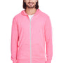Threadfast Apparel Mens Full Zip Hooded Sweatshirt Hoodie - Neon Pink