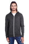 Threadfast Apparel 302Z Mens Full Zip Hooded Sweatshirt Hoodie Black Front