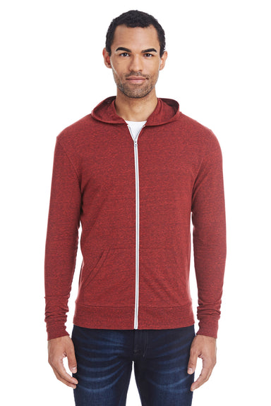 Threadfast Apparel 302Z Mens Full Zip Hooded Sweatshirt Hoodie Cardinal Red Front