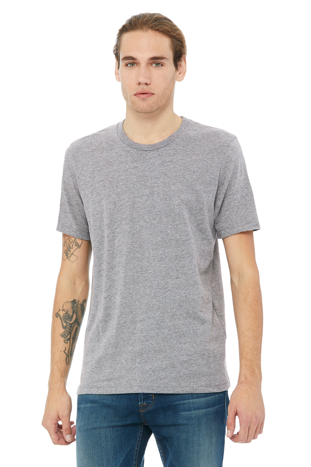 Bella + Canvas 3091 Mens Short Sleeve Crewneck T-Shirt Heather Grey Front