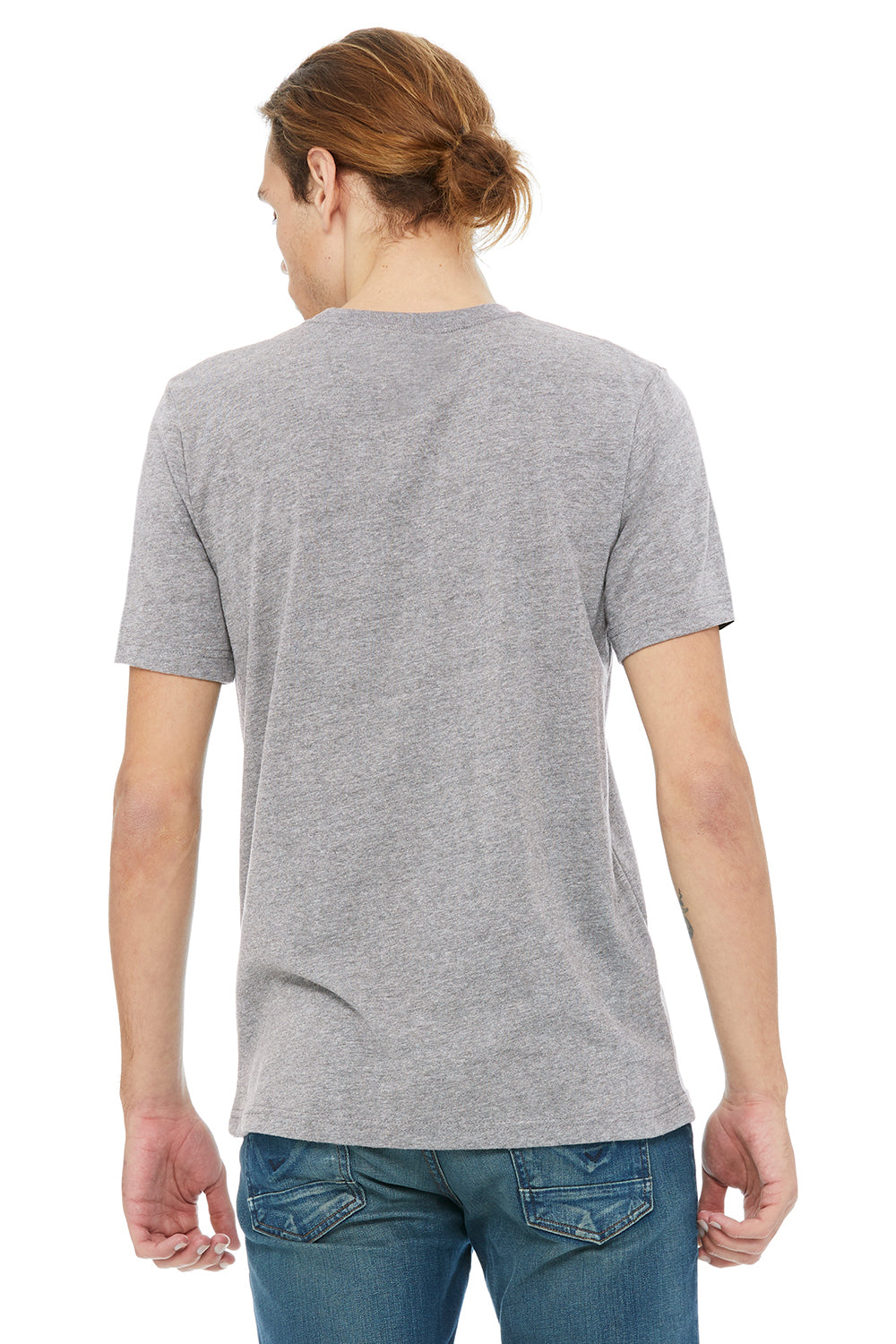 Bella + Canvas 3091 Mens Short Sleeve Crewneck T-Shirt Heather Grey Back