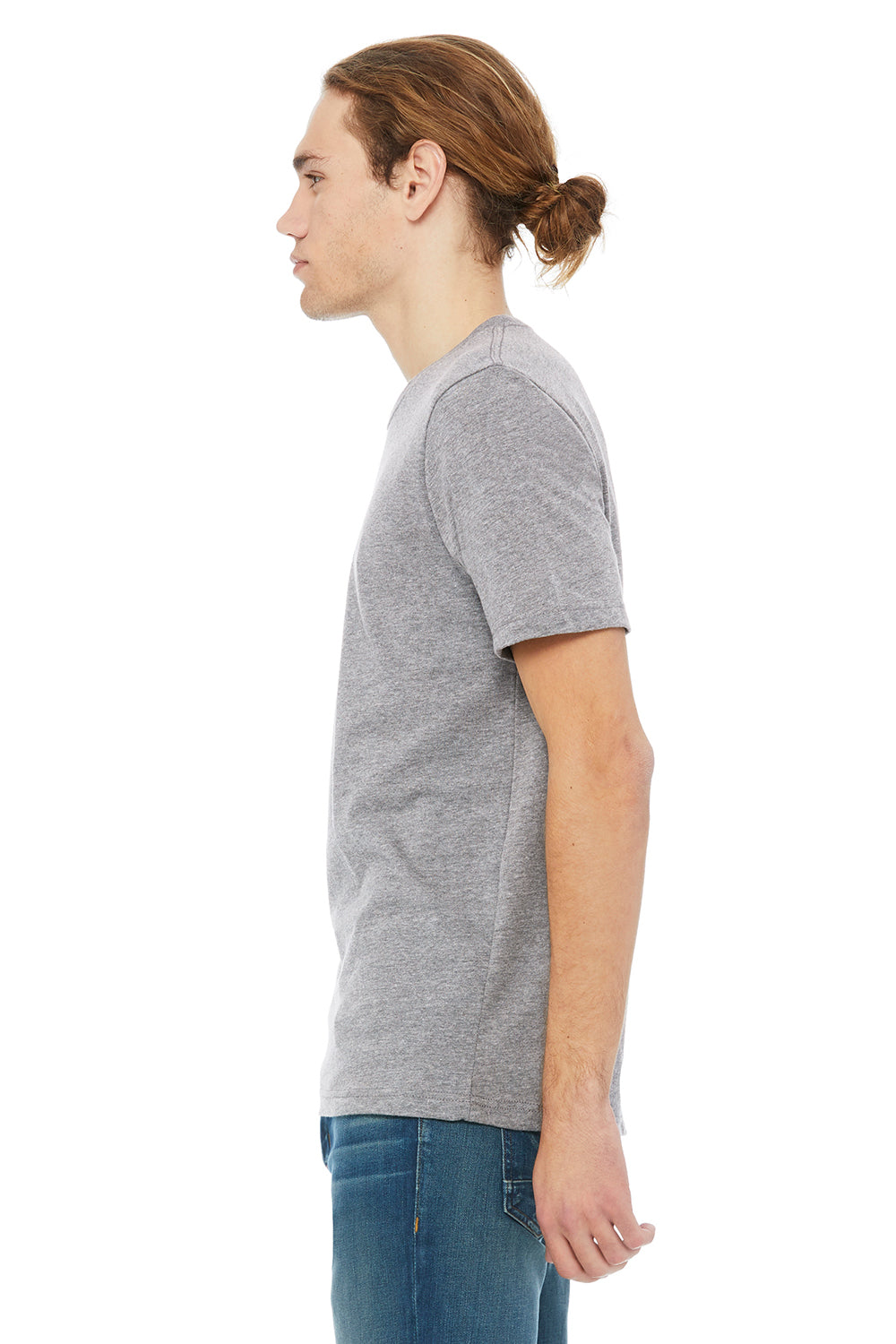 Bella + Canvas 3091 Mens Short Sleeve Crewneck T-Shirt Heather Grey Side