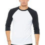 Bella + Canvas Mens 3/4 Sleeve Crewneck T-Shirt - White/Dark Grey