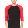 Bella + Canvas Mens 3/4 Sleeve Crewneck T-Shirt - Black/Red