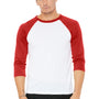 Bella + Canvas Mens 3/4 Sleeve Crewneck T-Shirt - White/Red