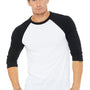 Bella + Canvas Mens 3/4 Sleeve Crewneck T-Shirt - White/Black