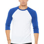 Bella + Canvas Mens 3/4 Sleeve Crewneck T-Shirt - White/Royal Blue