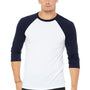 Bella + Canvas Mens 3/4 Sleeve Crewneck T-Shirt - White/Navy Blue