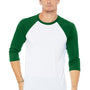 Bella + Canvas Mens 3/4 Sleeve Crewneck T-Shirt - White/Kelly Green