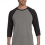Bella + Canvas Mens 3/4 Sleeve Crewneck T-Shirt - Grey/Charcoal Black