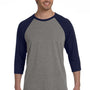 Bella + Canvas Mens 3/4 Sleeve Crewneck T-Shirt - Grey/Navy Blue