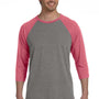 Bella + Canvas Mens 3/4 Sleeve Crewneck T-Shirt - Grey/Light Red