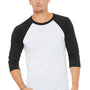 Bella + Canvas Mens 3/4 Sleeve Crewneck T-Shirt - White Fleck/Charcoal