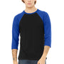 Bella + Canvas Mens 3/4 Sleeve Crewneck T-Shirt - Black/Royal Blue