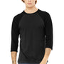 Bella + Canvas Mens 3/4 Sleeve Crewneck T-Shirt - Heather Black/Black