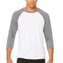 Bella + Canvas Mens 3/4 Sleeve Crewneck T-Shirt - White/Heather Deep Grey