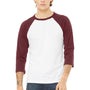 Bella + Canvas Mens 3/4 Sleeve Crewneck T-Shirt - White/Maroon
