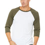 Bella + Canvas Mens 3/4 Sleeve Crewneck T-Shirt - White/Heather Olive Green