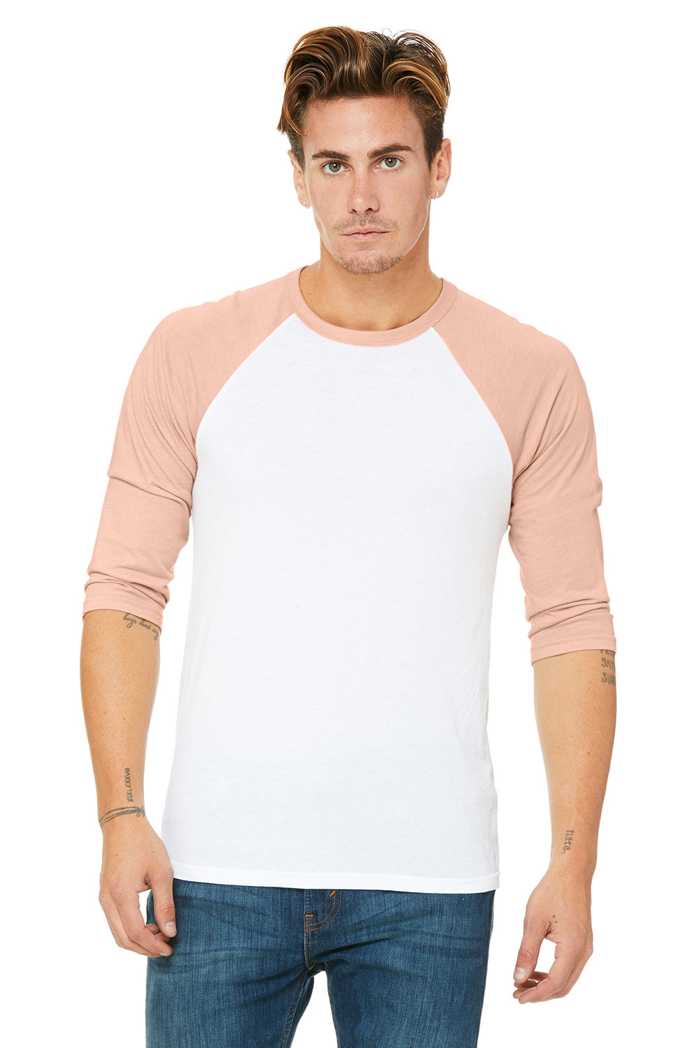 Bella + Canvas 3200 Mens 3/4 Sleeve Crewneck T-Shirt White/Heather Peach Front