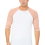 Bella + Canvas Mens 3/4 Sleeve Crewneck T-Shirt - White/Heather Peach
