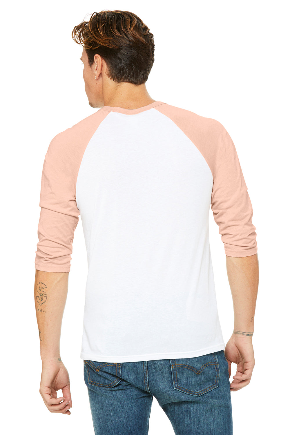 Bella + Canvas 3200 Mens 3/4 Sleeve Crewneck T-Shirt White/Heather Peach Back