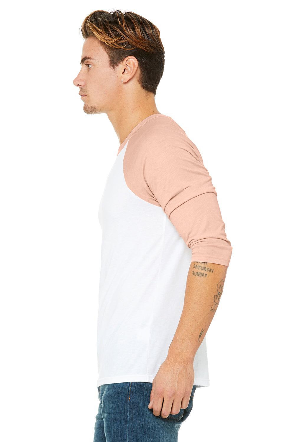 Bella + Canvas 3200 Mens 3/4 Sleeve Crewneck T-Shirt White/Heather Peach Side