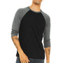 Bella + Canvas Mens 3/4 Sleeve Crewneck T-Shirt - Black/Heather Deep Grey