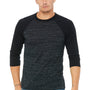 Bella + Canvas Mens 3/4 Sleeve Crewneck T-Shirt - Black Marble/Black