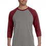 Bella + Canvas Mens 3/4 Sleeve Crewneck T-Shirt - Grey/Maroon