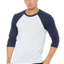 Bella + Canvas Mens 3/4 Sleeve Crewneck T-Shirt - White Fleck/Navy Blue