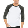 Bella + Canvas Mens 3/4 Sleeve Crewneck T-Shirt - White/Asphalt Grey