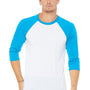 Bella + Canvas Mens 3/4 Sleeve Crewneck T-Shirt - White/Neon Blue
