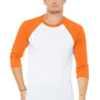 Bella + Canvas Mens 3/4 Sleeve Crewneck T-Shirt - White/Neon Orange