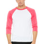 Bella + Canvas Mens 3/4 Sleeve Crewneck T-Shirt - White/Neon Pink