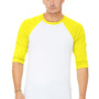 Bella + Canvas Mens 3/4 Sleeve Crewneck T-Shirt - White/Neon Yellow