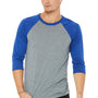 Bella + Canvas Mens 3/4 Sleeve Crewneck T-Shirt - Grey/Royal Blue