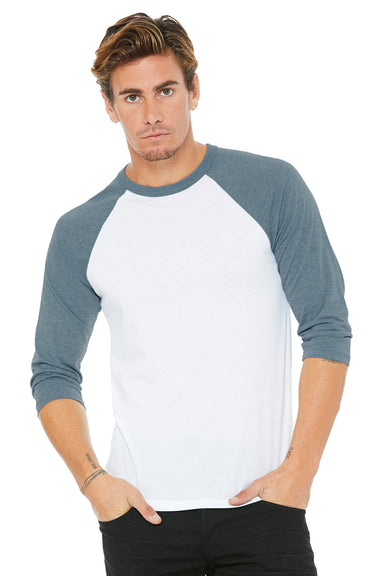 Bella + Canvas 3200 Mens 3/4 Sleeve Crewneck T-Shirt White/Denim Blue Front