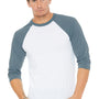 Bella + Canvas Mens White/Denim Blue 3/4 Sleeve Crewneck T-Shirt