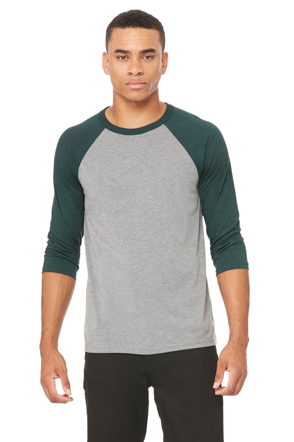Bella + Canvas 3200 Mens 3/4 Sleeve Crewneck T-Shirt Grey/Emerald Green Front