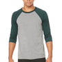Bella + Canvas Mens Grey/Emerald Green 3/4 Sleeve Crewneck T-Shirt