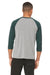 Bella + Canvas 3200 Mens 3/4 Sleeve Crewneck T-Shirt Grey/Emerald Green Back