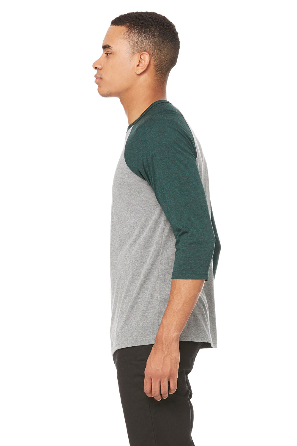 Bella + Canvas 3200 Mens 3/4 Sleeve Crewneck T-Shirt Grey/Emerald Green Side