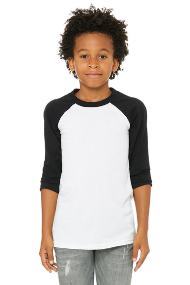 Bella + Canvas 3200Y Youth 3/4 Sleeve Crewneck T-Shirt White/Black Front