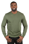 Threadfast Apparel 320C Mens Ultimate Fleece Crewneck Sweatshirt Army Green Front