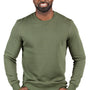 Threadfast Apparel Mens Ultimate Fleece Crewneck Sweatshirt - Army Green